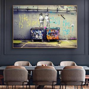 """Resumen pintada de la calle la pared del arte de la lona Pintura de pósteres y láminas """"La vida es corta Chill El duck hacia fuera"""" Fotos Decoración"""