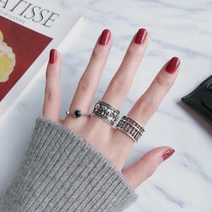 Kühle Retro japanische und koreanische 925 Thai Silber Ring Glückslos Abacus geöffneter Ring Retro alte Männer und Frauen Ring
