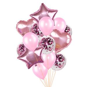14pcs / set 18inch Herz-Stern-Folienballon 12inch Confetti Latexballons Geburtstag Hochzeit Dekor Globos Zubehör Zubehör