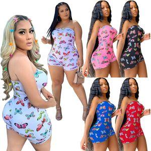 Designer Sexy Mulheres Alças Jumpsuit Shorts Romper Casual borboleta Impresso Enrole Peito Roupa de Noite Partido mangas Verão Bodycon C630
