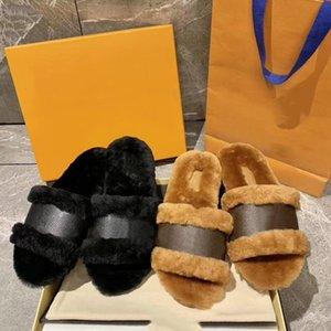 Nouvelle hiver plat Monogram fourrure c verrouillez glisse laine en cuir véritable des femmes Designer Fur Slipper chaussures chaudes de la mode Mulets US4-11