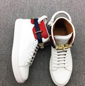 Горячих продажи Дизайнерской обувь кроссовки мужчины Италия Топ коровьего Бушого Замок Hight Top Sneaker Skate Shoe Спорт Повседневная обувь Flats мужские ботинки