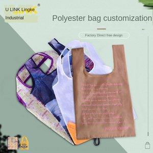 KQ7GI Polyester shopping Strawberry shopping RPET foldable storage strawberry bag waterproof supermarket promotional portable environmental