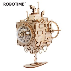 Robotime Creative DIY 3D Steampunk Submarine Wooden Puzzle Game Assembly Music Box Toy Gift for Children Teens Adult AM680 MX200414