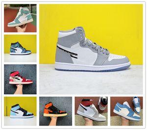 Jumpman 1 Баскетбол обувь Атлетика кроссовки кроссовки для женщин Спорт Факел Hare игры Royal Pine Green Court Obsidian UNC Размер 36-46