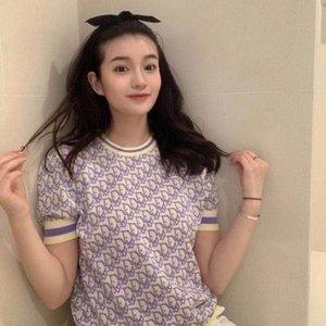2020 tricot T-shirt col rond de glace de haute qualité soie chandail couvert de regards jacquard couleur lettre mince