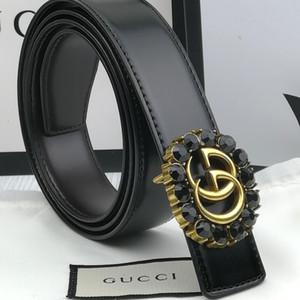 diseñador de la mujer ancho de estilo de la hebilla del cinturón de cristal de metal 3.4cm de lujo 2020 moda # 160; Brand 1Ggg cinturón 1GCuero