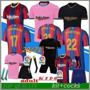 Maglia da calcio TOP FC BARCELONA 2020 2021 camisetas de futbol ANSU FATI 20/21 Messi GRIEZMANN DE JONG Maglie calcio maglia uomo kit bambini
