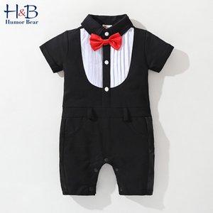 Estate Abbigliamento boys che Striped Gentleman tuta + Bow Boy Completo alla moda bambino del bambino scherza i vestiti