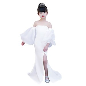 white mermaid dress age for 3- 14 yrs teenage girls vintage noble graduation gowns evening party kids irregular christmas frocks T200709