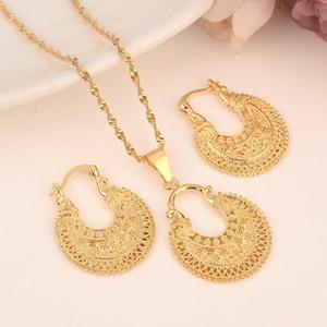 Dubaï India Gold femmes mariage gfirls collier pendentif Boucles d'oreilles Parures Party Ethiopie Nigeria Afrique de bricolage cadeau charmes s7jF #
