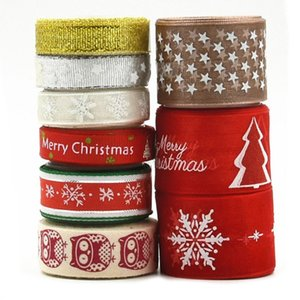 9Pcs 2 Yards Christmas Grosgrain Polyester Ribbon for DIY Crafts Gift Wrapping 40JF
