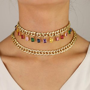 Gold filled cz miami cuban link chain with rainbow baguette cz drop charm Rock hiphop women choker necklace