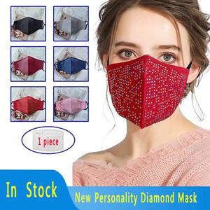 Em Inventário Designer Dimond Máscara Facial à prova de poeira respirável Máscara colorida de pano de algodão Face Com 1 Parte Filtro frete grátis