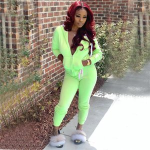 Tracksuits Solid Color Cardigan Long Sleeve Woman Sports Suits Casual Skinny Ladies Sets Designer 2pcs Women