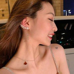 2020 new tassel leaf silver needle stud earrings feminine-style long earrings women face slimming ear line