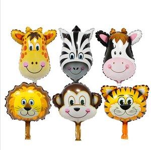Vaca Mini animales de la historieta de la hoja del globo del león del tigre del mono decoración de fiesta de la boda del globo del cumpleaños de la película de aluminio globos niños juguetes