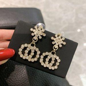 C2359 New round diamond precision set snow classic letter C earrings exquisite elegant women fashion earrings jewelry