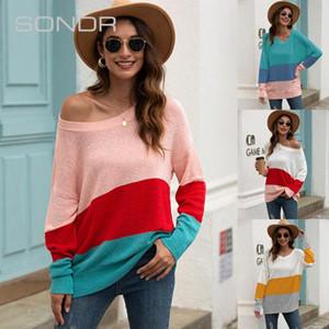 2020 otoño las nuevas mujeres de temperamento sencillo suéter delgado de la manera de las mujeres de rayas costura fuera de los hombros suéter