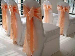 Decorazione evento Peach Banchetto sedia Satin Sash Wedding Chair Papillon Per hotel partito WedFavor 100pcs