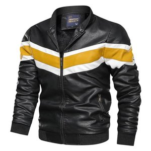 2020 New Design Motorcycle Bomber Leather Jacket Men Stand Collar Autumn Slim Fit Male Leather Jacket Coats Pu Simple Fashion Pu