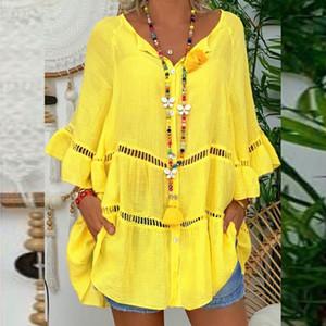 A camisa do Feitong Plus Size Blusa Mulheres Sólidos Algodão Linho oco Out 3/4 comprimento da manga V-Neck pulôver blusas mujer de moda 2020