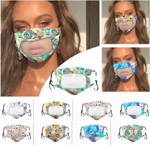 Clear Plastic Patchwork Face Mask Women Printed Floral Designer Mouth Mask Dustproof Breathable Protective Mask DHL Ship HH9-3148