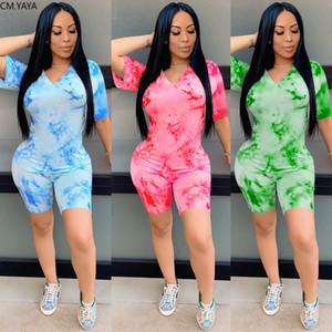 Mulheres Conjuntos Tie Tye Imprimir V-pescoço de Manga Curta T-shirt Shorts Terno Dois Parte Set Sport Fashion Tracksuit Outfits Conjunto de Correspondência