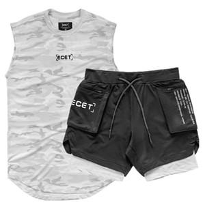 2 pc / vestiti Set Set di sport degli uomini T-shirt Running / Gilet + Sport Shorts Jogging Uomo sportivo Tuta da calcio Correre Imposta Fitness Gym
