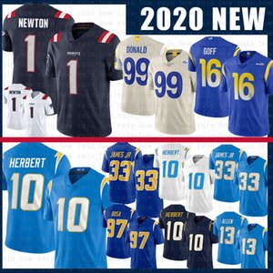 1 Cam Newton 99 Aaron Donald Justin Herbert Derwin James JR Football New Jersey Jared Goff Keenan Allen Joey Bosa Angleterre