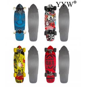 Planche à roulette Mini Cruiser skateboards d'érable imprimé Longboard Vintage Fishboard Rue Outdoor Sport Planche à roulettes pour adultes