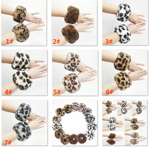 Plush Warm Leopard Bracelet Wristbands Circle Round Fur Hand Ring Ornament Halloween Christmas Party Gifts DHL SHip HH9-2458