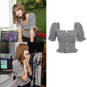 Kpop BlackPink LISA été nouveaux boutons de mode Cropped chemises à carreaux femmes Streetwear col carré chemisiers à manches courtes et hauts