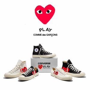Comme des Garçons PLAY X CONVERSE All Star 1970 High Top Designers lazer Motocycle Esporte sapatos pretos casuais sapatas de lona