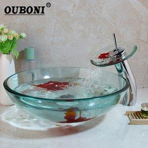 OUBONI Золото Finsh Art Ручная роспись Закаленное ванной стеклянный сосуд Раковина Chrome Водопад латунь Смеситель для раковины Combo Glass Set