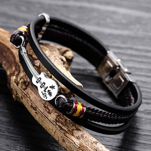 Men's Guitar Bracelet Multi-layer Woven Bracelets Leather Rope Accessories Europe And America Punk Men's PU Leather Bracelet