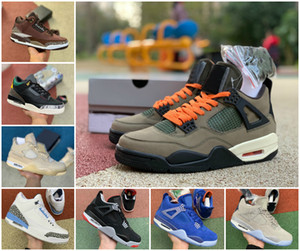 NEW Travis Scotts 4s Herren-Basketball-Schuhe 3s UNC White Cement Rasta Retroes Jumpman 4 Winterized Loyal blauer Pilz Varsity Königs Turnschuhe