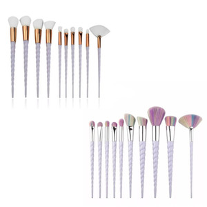 Unicorn Make Up Brushes Set 10pcs Makeup Brush Kit Screw Handle Shaped Plastic Facial Eye Shadow Cosmetic Tool 11af B2