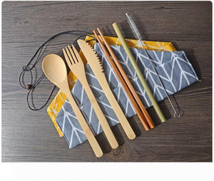 Portable Natural Bamboo Straw Spoon Fork Knife Chopsticks Cleaning Brush Kitchen Utensil Bamboo Cutlery Set WB305