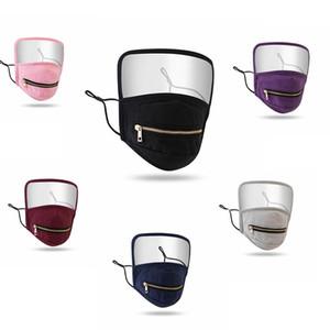 2 en 1 cremallera de la cara del escudo máscara de protección de la cara llena de moda a prueba de polvo reutilizable lavable y transpirable Máscaras Deporte Máscara IIA370