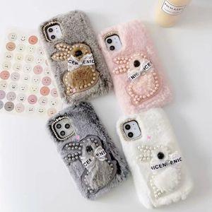 Fur Soft TPU Case For Galaxy A20E M20 M10 A40S A70 A40 A30 A50 A10 Bear Cartoon Bling Diamond Fluffy Genuine Rabbit Hair Beads Cover Cute