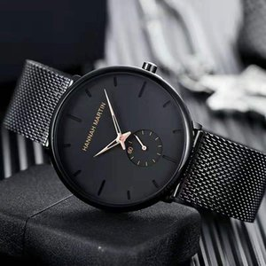2020 new HM brand men's watch HANNAH MARTIN series steel belt watch 40mm stainless steel mesh belt fashion quartz watch