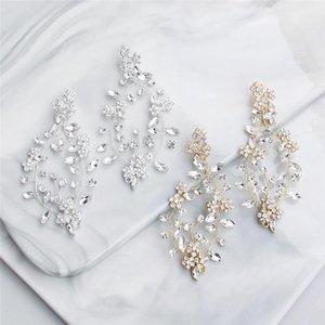 Jonnafe la plata del oro del Rhinestone nupcial pendientes de gota Accesorios de boda joyería hecha a mano Pendientes de cristal de las mujeres