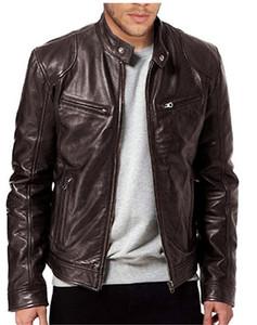Chaqueta para hombre del diseñador de la PU de cuero delgado abrigos para hombre collar del soporte de hombre de manga larga de vestir exteriores con cremallera