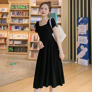 Negro 2020 de verano mujeres embarazadas manga corta plaza vestido de algodón botón de collar de maternidad vestido hasta la rodilla estirada