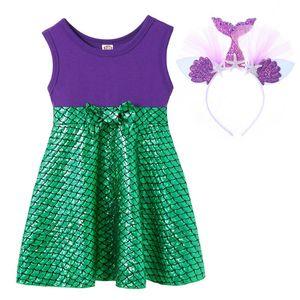 Princess Ariel Dress Girl Little Mermaid Costume Kids Cotton Soft Sundress Children Birthday Haloween Party Fancy Dress Cosplay