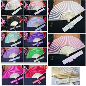 15 colors Wedding Fans Printing Text On silk Fold Hand Fans With Gift Box Personalized Wedding Favors gifts HH7-1968
