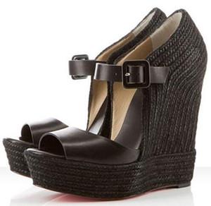 Verão Designer de Mulheres Platform Wedge Sandals Red Shoe inferior Praia Espadrille 140 milímetros Popular senhoras sapatos de salto alto Cunhas c30 calçado de luxo