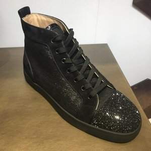 [Box Originals] Top luxe P Red Sneakers Bas Strass Chaussures High Top Hommes Marque Casual marche Rouge Sole Sports de plein air Femmes EU47
