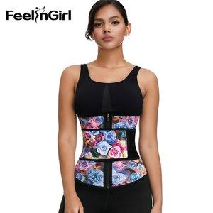 FeelinGirl Kadınlar% 100 Lateks Bel Trainer Moda Gül Baskı Zayıflama Kemeri Karın Kontrol Vücut Şekillendiriciler Underbust Bel cincher CX200729